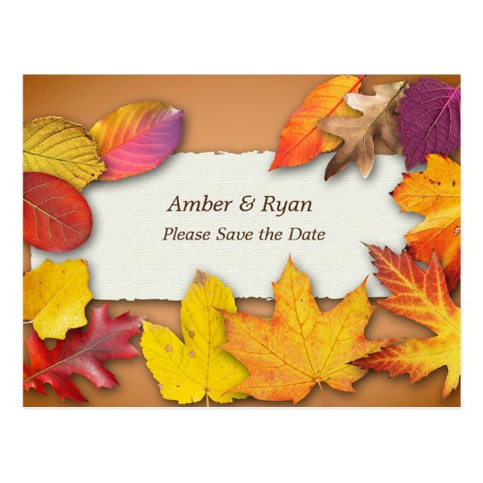 Autumn Wedding, Fall Colours, Save the Date Postcard