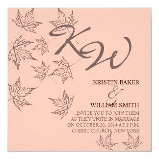 Autumn Wedding  Invitation Leaves Brown Soft Pink