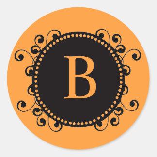 Autumn Wedding Orange Black Monogram B Sticker