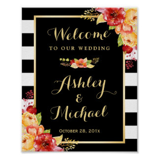 Autumn Wedding Reception Sign Gold Floral Stripes Poster