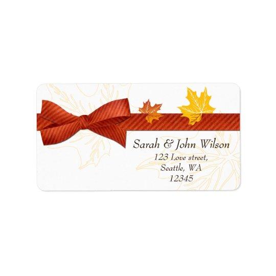 autumn wedding ,return address label