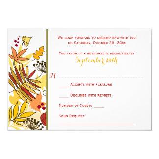 Autumn Wedding RSVP Card | Leaves, Seeds, Berries