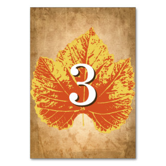 Autumn Wedding Table Numbers | Rustic Fall Theme Table Cards