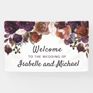 Autumn Wedding Welcome Purple Plum Floral Banner