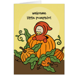 Autumn Welcome Little Pumpkin New Baby Card