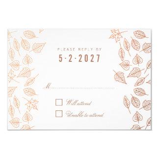 Autumn Whimsical Leaves Copper Wedding RSVP Card