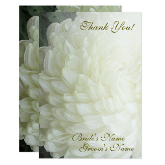 Autumn White Chrysanthemum Wedding Thank You Card