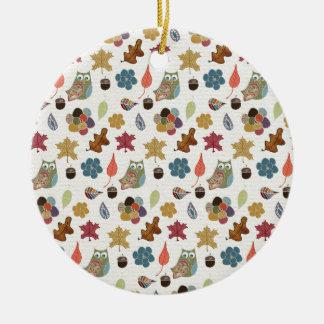 Autumn White Doodle Folk Art Round Ceramic Ornament