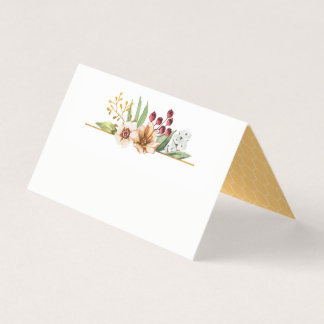 Autumn Wildflower Watercolor Wedding Gold Place Card
