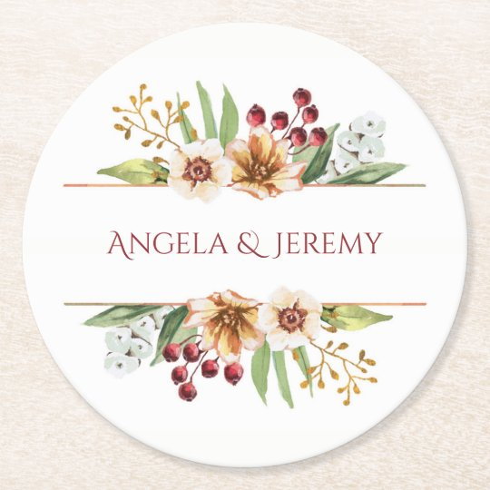 Autumn Wildflower Watercolor Wedding Red Round Paper Coaster