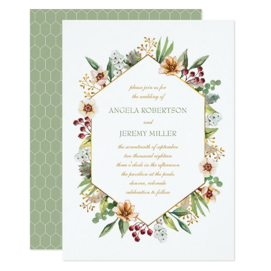 Autumn Wildflower Watercolor Wedding Sage Card