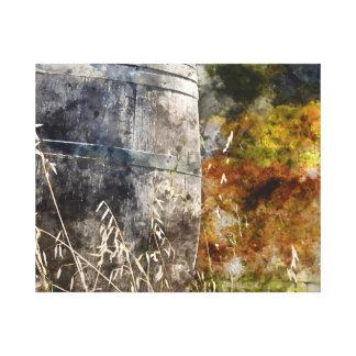 Autumn Wine Barrel in a Vineyard Canvas Print