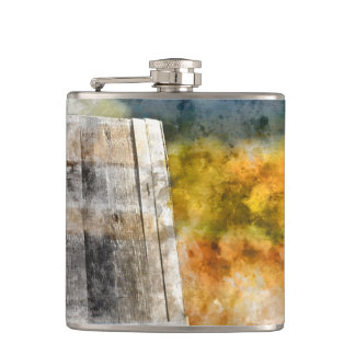 Autumn Wine Barrel in a Vineyard Flask