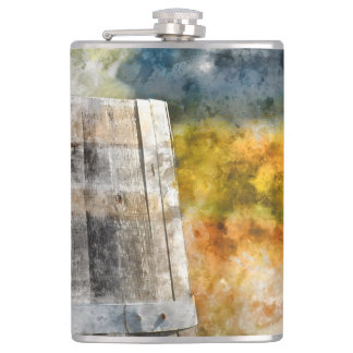 Autumn Wine Barrel in a Vineyard Flasks
