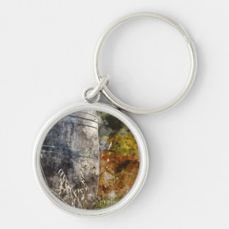 Autumn Wine Barrel in a Vineyard Keychain