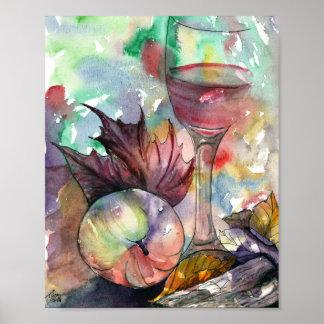 Autumn Wine Glass Still Life Poster