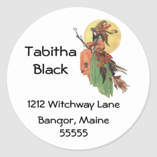 Autumn Witch Address Label Stickers