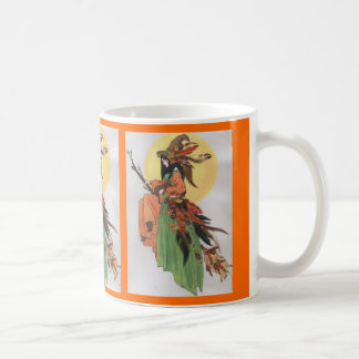 Autumn witch collage with feathers coffee mug