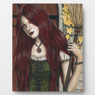 Autumn Witch Gothic Fantasy Art Plaque