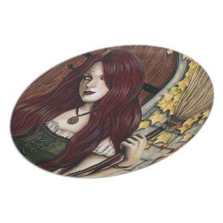 Autumn Witch Gothic Fantasy Art Plate