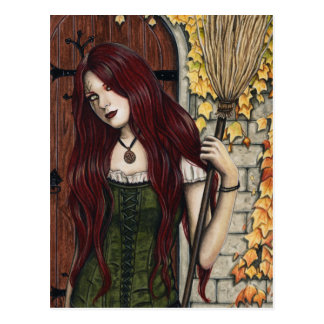 Autumn Witch Gothic Fantasy Art Postcard