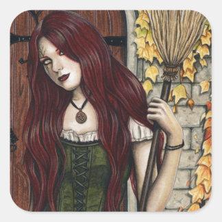 Autumn Witch Gothic Fantasy Art Sticker