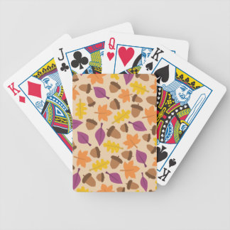 autumn with acorn and oak leaves bicycle playing cards