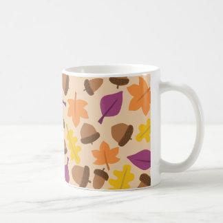 autumn with acorn and oak leaves coffee mug