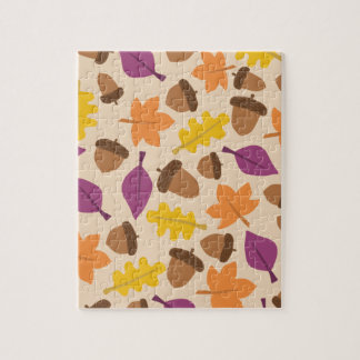 autumn with acorn and oak leaves puzzle