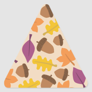 autumn with acorn and oak leaves triangle sticker