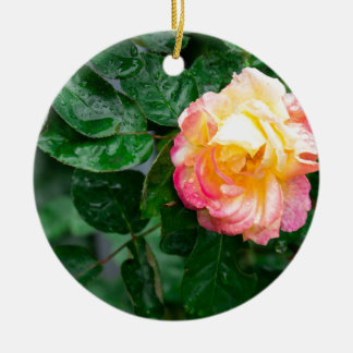 Autumn withered rose with raindrops ceramic ornament