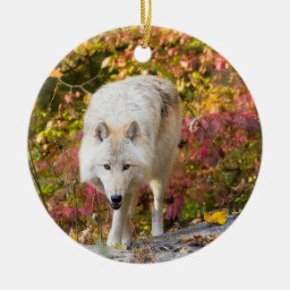 Autumn Wolf Round Ceramic Ornament