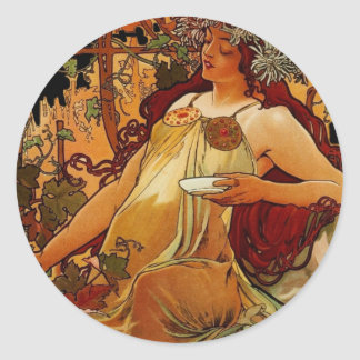 Autumn Woman Classic Round Sticker