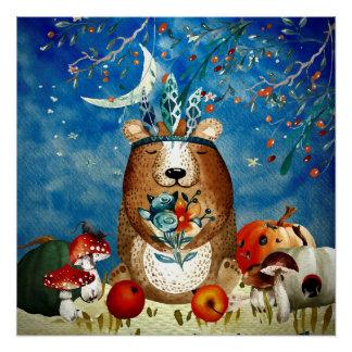 Autumn Woodland Friends Bear Forest Illustration Poster