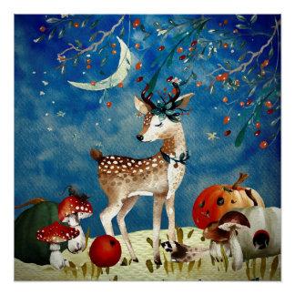 Autumn Woodland Friends Deer Forest Illustration Poster