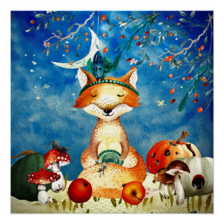 Autumn Woodland Friends Fox Forest Illustration Poster