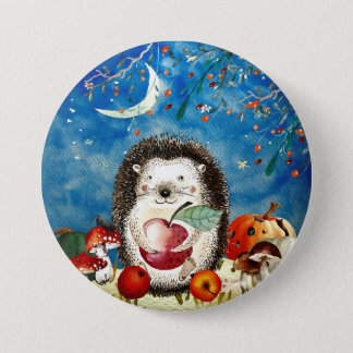 Autumn Woodland Friends Hedgehog Forest Drawing 3 Inch Round Button
