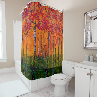 Autumn Woods Painting - shower Curtain