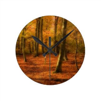 Autumn woods round clock