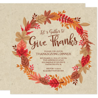 Autumn Wreath Give Thanks Thanksgiving Dinner Card