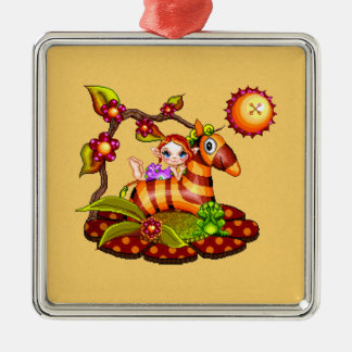 Autumn Zebra Pixel Art Metal Ornament