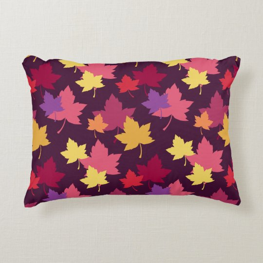Autumnal Colours Fall Leaves Pattern Decorative Pillow
