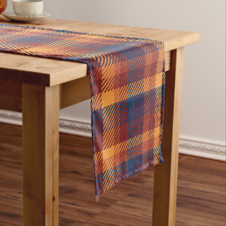 Autumnal Fall Earth Tones Tweed Plaid Pattern Short Table Runner
