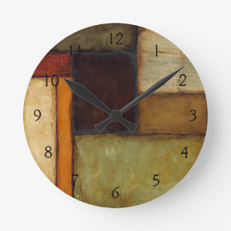 Autumnal Impressionist by Jennifer Goldberger Round Clock