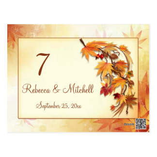 Autumnal leaves Table number Postcard