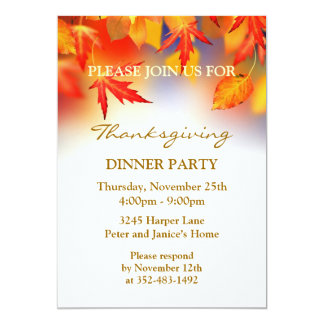 """Autumnal leaves Thanksgiving Party Invitation 5"""" X 7"""" Invitation Card"""