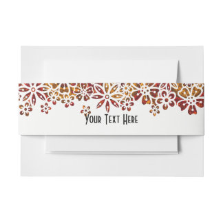 Autumnal Orange Gold Floral Fret Work Personalized Invitation Belly Band