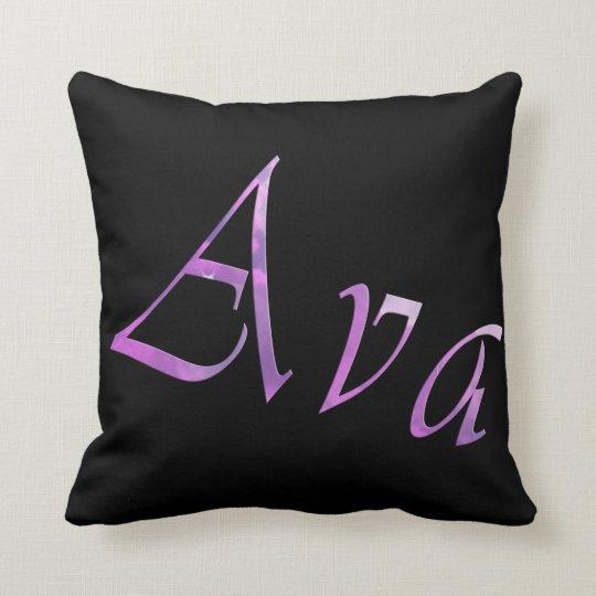 Ava, Girls  Name, Logo, Black Throw Cushion. Throw Pillow
