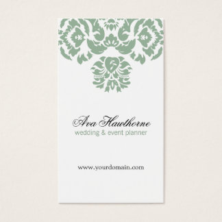 Ava Gray Damask Floral Chic Business Card Vertical