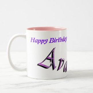 Ava, Happy Birthday Logo, Pink Combo Coffee Mug. Two-Tone Coffee Mug
